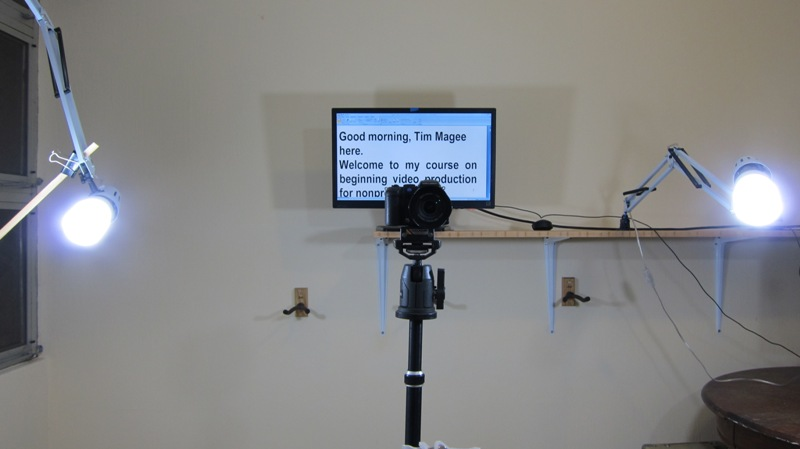 The Camera. The teleprompter. Lights adjacent to the Camera.