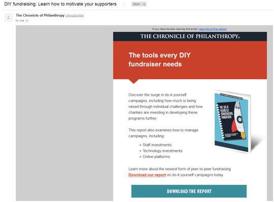 Nonprofit Email Newsletters: Chronicle of Philanthropy DIY Fundraising