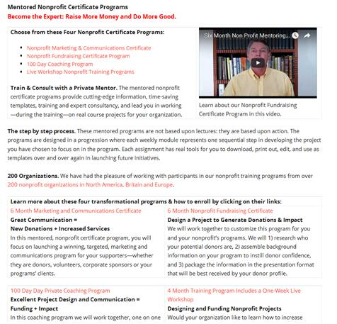 Nonprofit Email Newsletters: Mentor landing page after.
