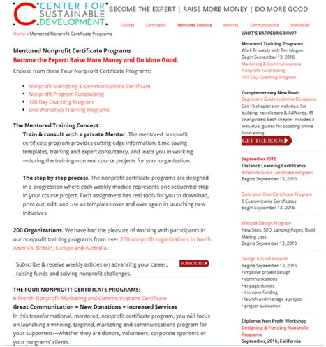 Nonprofit Email Newsletters: Mentor landing page before.