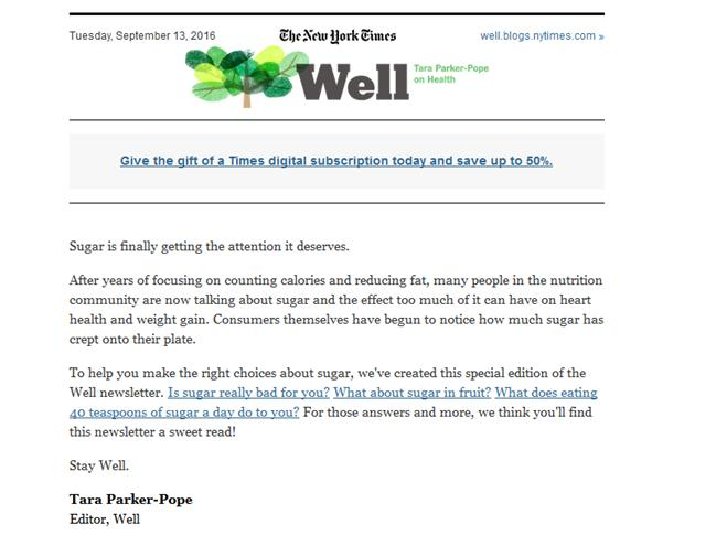 Nonprofit Email Newsletters: NYT Well Sugar