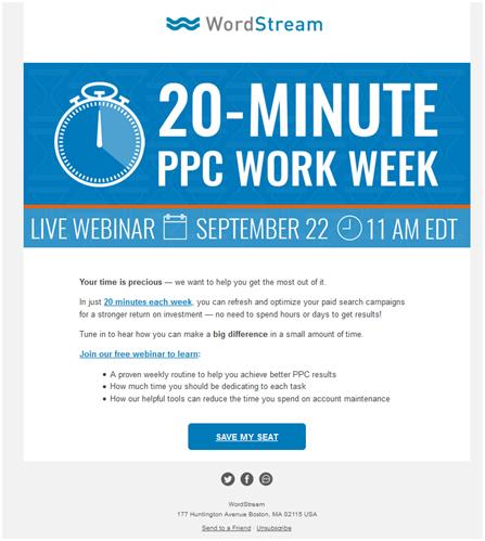 Nonprofit Email Newsletters: Wordstream 20 Minute Workout