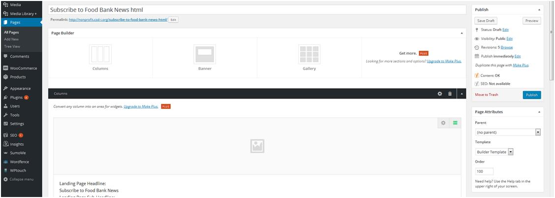 How to Create a Website: Webpage with a single column and no sidebar.