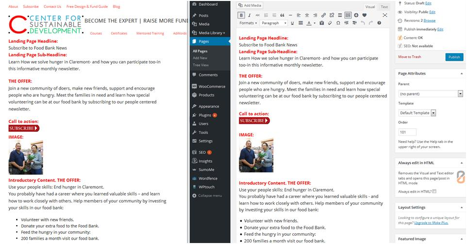 How to Create a Website: Comparing a webpage to how it looks in visual editor.