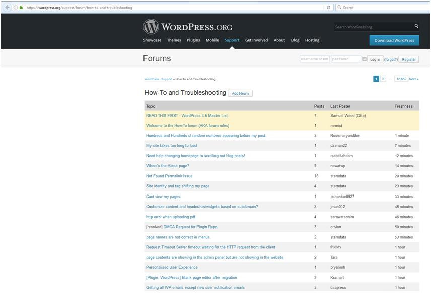 How to Create a Website: Logging onto the WordPress Forum.