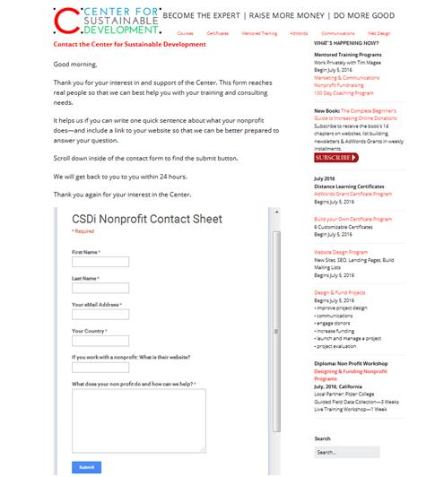 How to Accept Donations Online: CSDi Nonprofit Google Drive Contact Sheet Example.