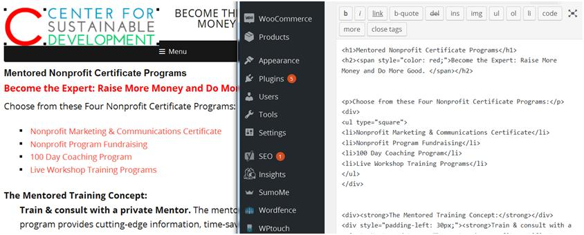How to Accept Donations Online: Finished Webpage compared to HTML Square Bullet Snippet.