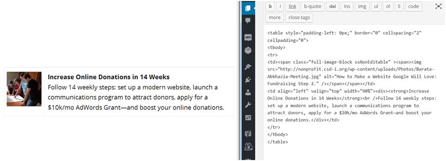 How to Accept Donations Online: Finished Webpage compared to HTML Table with Photo Snippet.