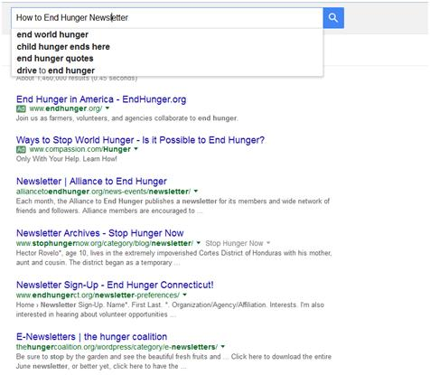 Landing Pages and Keywords: How to End Hunger Newsletter Google Search Results