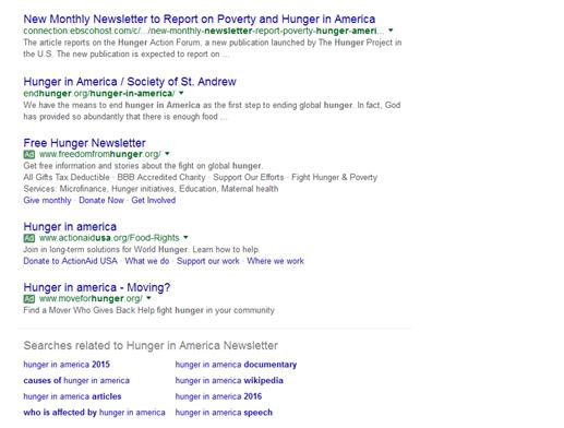 Landing Pages and Keywords: Hunger in America Google related search results at bottom