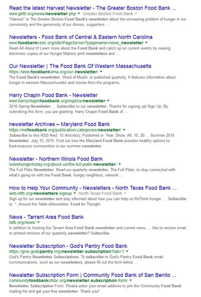 Landing Pages and Keywords: Subscribe to Food Bank News Google Search Results