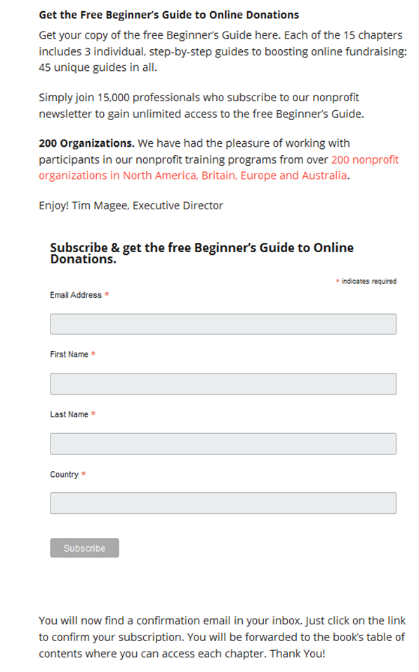 Subscription Page for Beginner's Book on Email List Building.