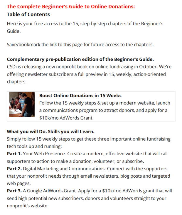 Table of Contents for Beginner's Book Chapter on Email List Building.