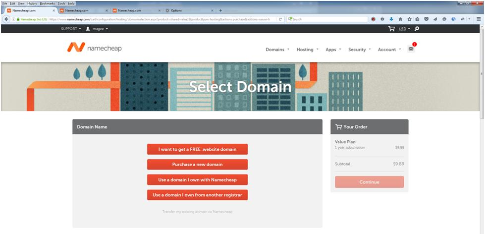 How to Create a Website: Select a domain to use with shared hosting.