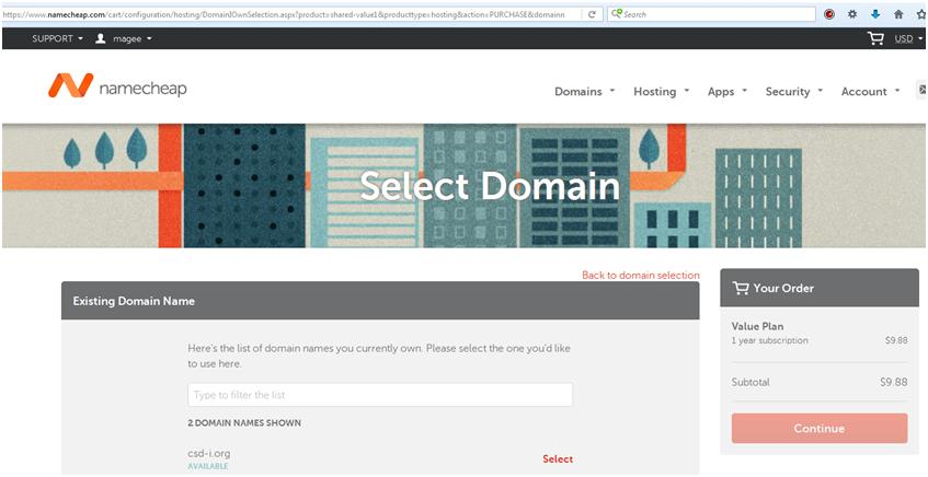 How to Create a Website: Select an existing domain to use with shared hosting.