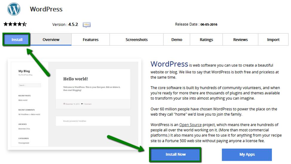 How to Create a Website: In the WordPress install page, click on the Install Now button.
