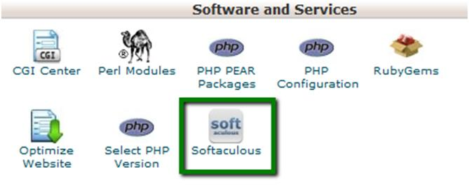 How to Create a Website: Navigate to the software and services menu and click on the Softaculous icon.