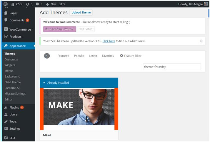 How to Create a Website: In the Add Themes search box, type in Theme Foundry and look for the Make theme.