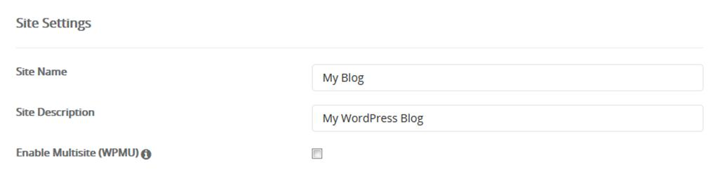 How to Create a Website: Add your site name and site description in the WordPress installation form.
