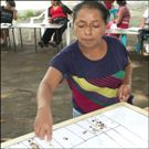 Vegetable Gardens, Community Gardens: Woman tallying her family's food diversity and food security.
