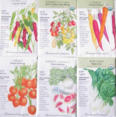 Seed packets for Urban Rooftop Vegetable Gardens.